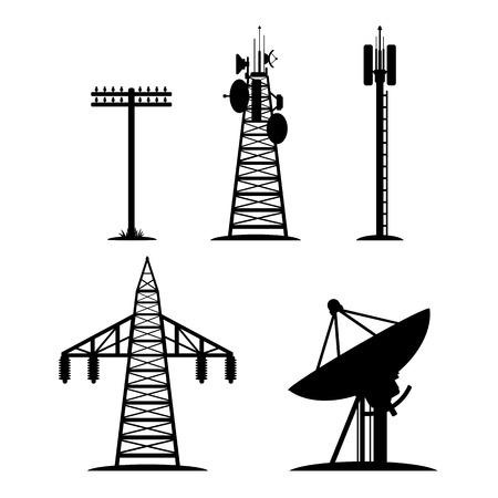 telegraaf: Silhouetten van communicatie constructies, telegraafpaal, radiotelescoop Stock Illustratie