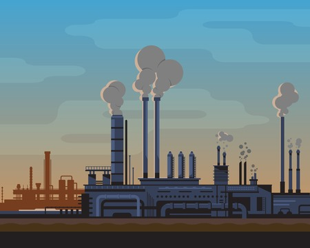 Industrial landscape of manufacturing factory buildings with smoke pipes in sunset. Flat style. Иллюстрация