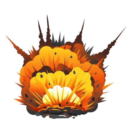 Gran explosión de una bomba de dibujos animados con la metralla y la bola de fuego, aislado