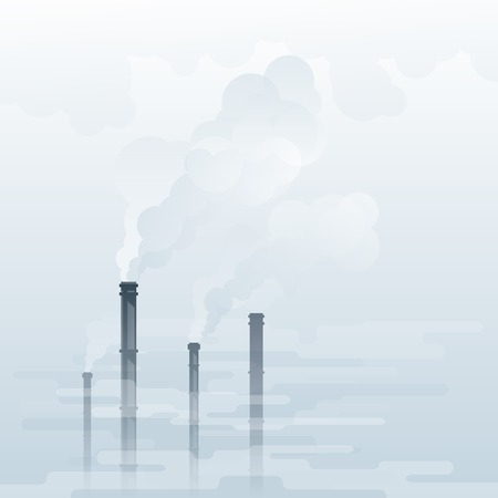 smog: Environmental pollution, industrial smoke from chimney, smog and fog in sky, ecology concept,