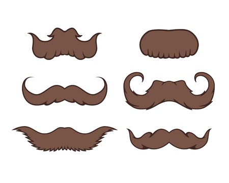 Set of six brown cartoon mustache, isolated Vector