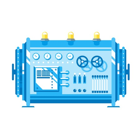 Cartoon creation mechanism with valve and sensor, electric generator, plant equipment, flat style isolated Illustration