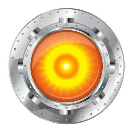 uranium: Metallic energy generator, radioactive nucleus construction element on top, eps10 isolated Illustration