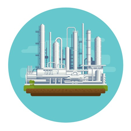 energy conservation: Oil production plant, petrochemical plant, big oil refinery, manufacturing with metallic constuctions, isolated Illustration
