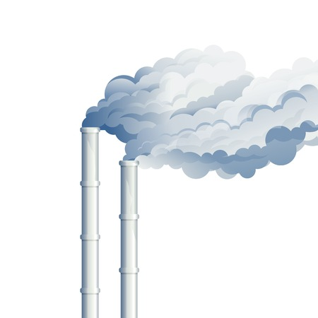 environmental damage: Industrial chimney smoke, environmental pollution, industrial smoke from chimney, smog and fog in sky, ecology concept, eps10 isolated