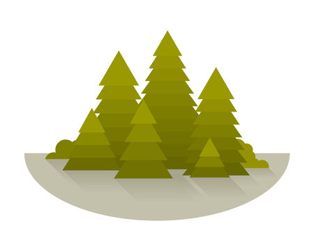 simplify: Forest glade with spruce trees, simplify flat style, isolated