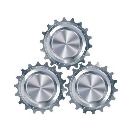 three wheel: Cog gears mechanism include three metallic elements in profile, isolated