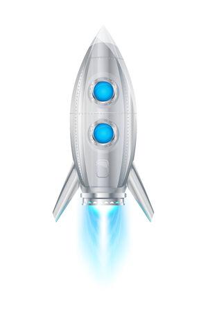booster: Met�lico realista cohete nave espacial volando, motor a reacci�n vertical con llama, eps10 aislado