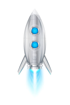 Realistic metallic rocket space ship flying vertical, jet engine with flame, eps10 isolated