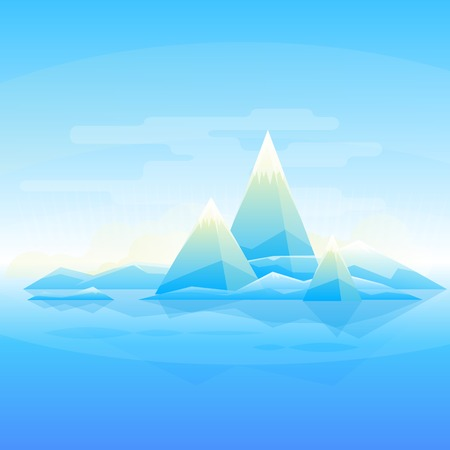 snowcapped landscape: Winter mountain landscape background, simple triangle geometric forms, flat style Illustration
