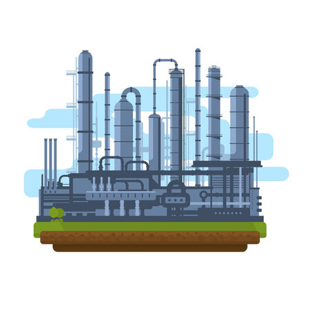 petrochemical plant: Oil production plant, petrochemical plant, big oil refinery, manufacturing with metallic constructions, isolated