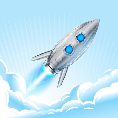 booster: R�aliste m�tallique fus�e vaisseau spatial volant dans le ciel, moteur � r�action avec une flamme, eps10 isol�