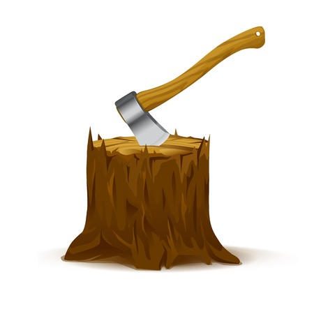 metal cutting: Brown stump with axe, quality illustration, isolated on white