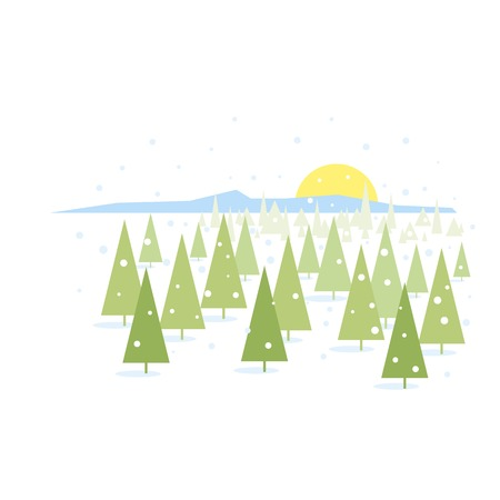 Winter landscape illustration of spruce covered with snow, sample geometric forms, modern flat style isolated