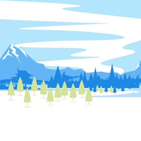 Landscape illustration, mountains with spruce trees, nature background, modern flat style isolated