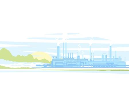 Industrielle Landschaft Herstellungsfabrikgebäude Mit Rauchrohre In  Sonnenuntergang. Wohnung Stil. Standard Bild 34539649