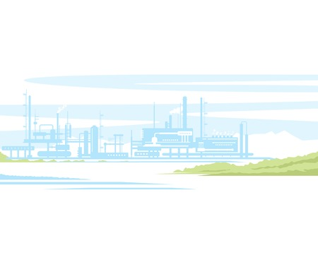 Industrial landscape of manufacturing factory buildings with smoke pipes in sunset. Flat style. Illustration
