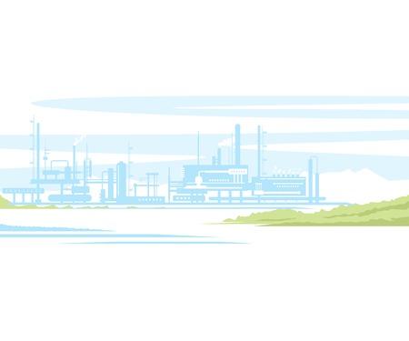 #34539650   Industrielle Landschaft Herstellungsfabrikgebäude Mit  Rauchrohre In Sonnenuntergang. Wohnung Stil.
