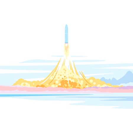 Spaceship launch landscape illustration background, start rocket to space, isolated Illustration