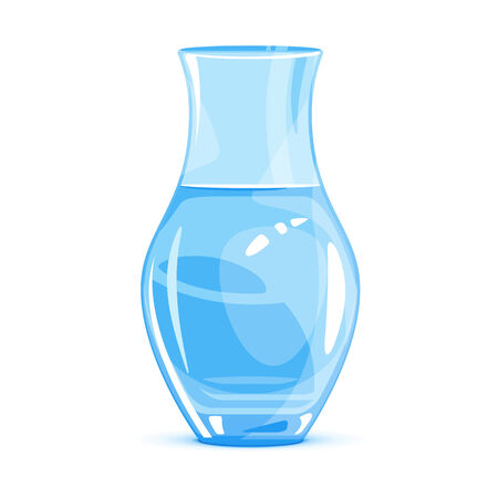 decorative urn: One empty classic vase, water in glass container, isolated on white Illustration