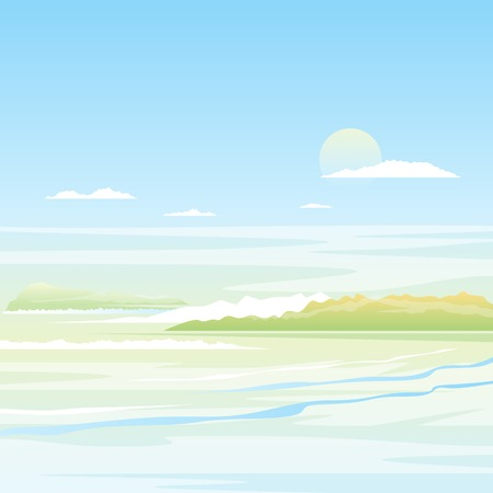 Seascape background with green islands in light colors, nature illustration Illustration