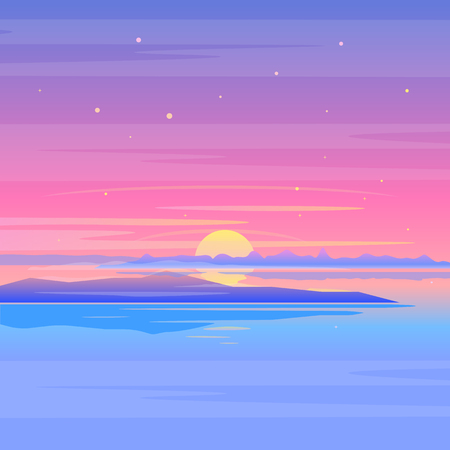 Sea sunset landscape with clouds and islands in purple colors, nature landscape illustration