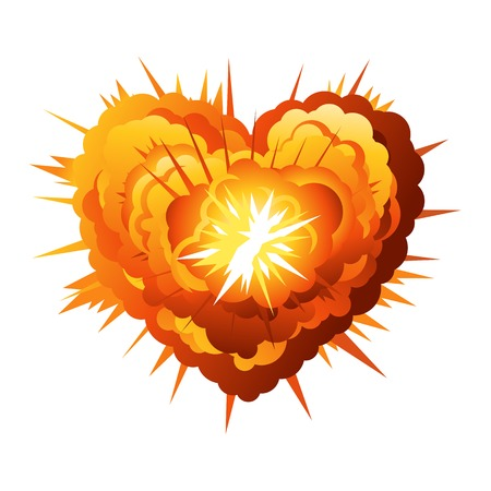 explosives: Big cartoon explosion in heart shape, conceptual illustration, isolated