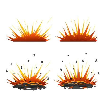 explosion: Set of cartoon explosive shell on the ground with fire and stones