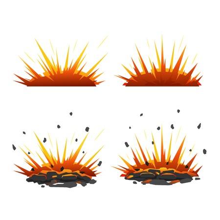 bombing: Set van cartoon explosieve shell op de grond met vuur en stenen Stock Illustratie