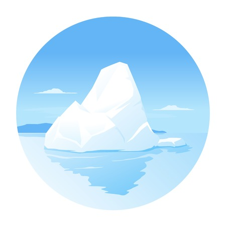 One iceberg in the sea, tip of the iceberg, isolated