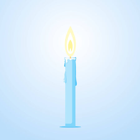 One thin glowing candles with melted wax on blue background