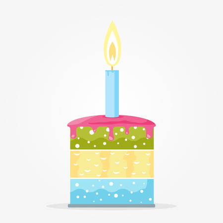 indulgence: Cake with one glowing candle, flat style illustration Illustration