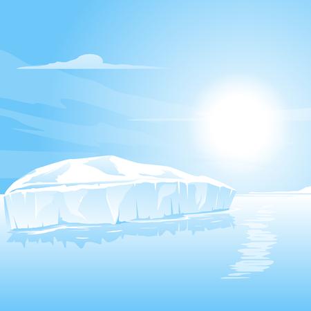 sea landscape: Big iceberg in the sea, landscape illustration Illustration