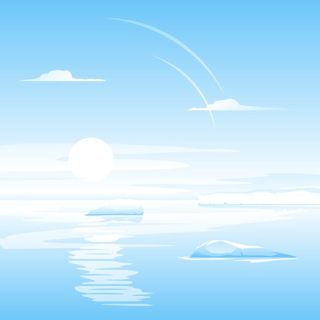 Sea with small icebergs, calm ocean, landscape illustration Illustration