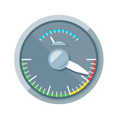 page down: Simple speedometer without numbers with dark scale, flat style illustration