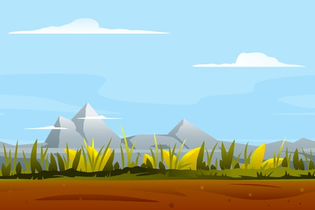 Nature game background tileable, ground with plants, mountains landscape, blue sky