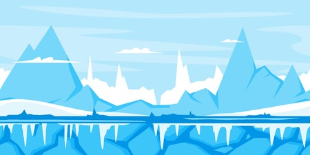 icicles: Blue mountains with snow and ice, nature game background landscape, tileable horizontally, sharp peaks, ground with icicles