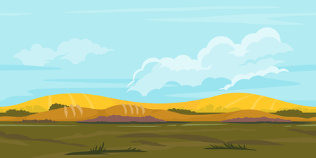 Fields in yellow and orange colors, game background landscape, tileable horizontally, agricultural land, ground with grass, big blue clouds Illustration