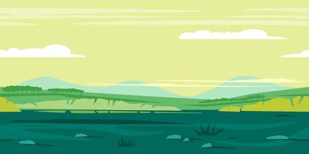 大きな茂みや木、ゲームの背景の風景、タイルと緑の牧草地を水平方向に地面草や石、白い雲と緑の空