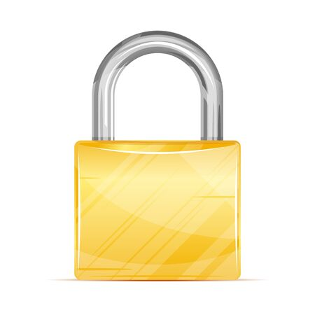 One locked padlock with gold and silver elements in front, security concept, quality illustration, realistic icon, isolated
