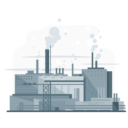 manufacturing: Industrial factory, manufacturing plant in gray colors with smoke from chimney, environmental pollution, flat style, isolated