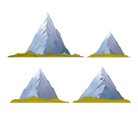 snowcapped mountain: Set of four high mountains with sharp peaks and green piedmont, quality illustration, isolated