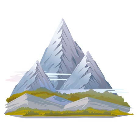 snowcapped mountain: High mountains with sharp peaks and green piedmont in clouds, hills in grass, nature landscape, quality illustration, isolated