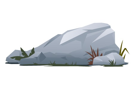 Grey rock with stones and grass, landscape design and game background elements, quality illustration, isolated