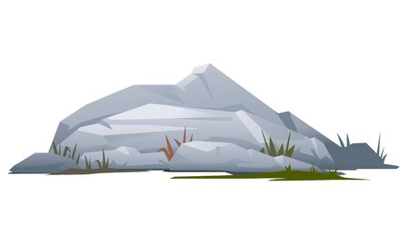boulder: Grey rock with stones and grass, landscape design and game background elements, quality illustration, isolated