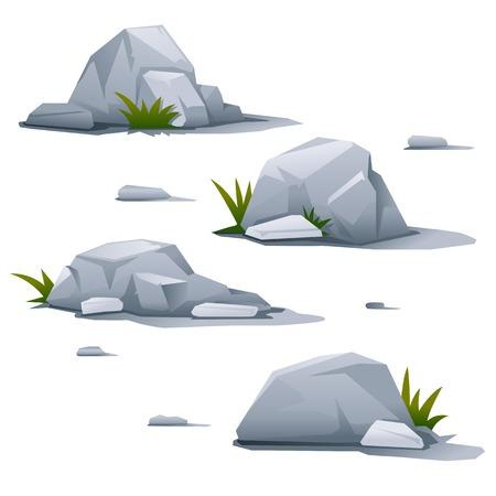 小さい草、景観設計要素、品質のイラスト分離と 4 つの灰色の石のセット