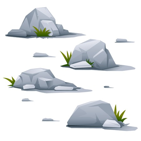 Set of four gray stones with small grass, landscape design elements, quality illustration, isolated Illustration