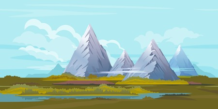 snowcapped mountain: High mountains with sharp peaks and green piedmont in clouds, hills in grass with lake, nature landscape, quality illustration Illustration