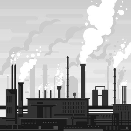 paesaggio industriale: Impianto industriale stile piatto paesaggio