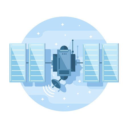 One simple satellite, flat style icon illustration